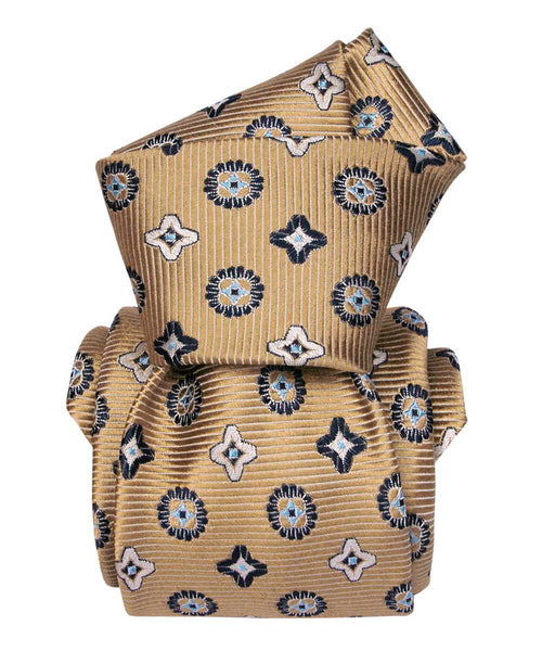 Italian Necktie - Light Brown Luxury Jacquard with Rhombus for Men- 100% Silk knot