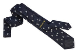 Italian Necktie in Very dark blue almost black silk with white crustaceans- 100% silk exposed fabric