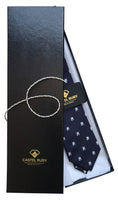 Italian Necktie in Very dark blue almost black silk with white crustaceans- 100% silk in gift box
