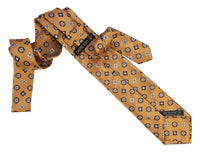 Italian Necktie with Orange Yellow Jacquard Pattern - 100% Silk- Self Tipped  exposed fabric