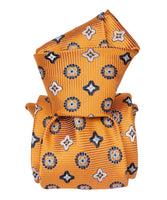 Italian Necktie with Orange Yellow Jacquard Pattern - 100% Silk- Self Tipped  knot