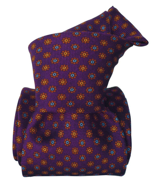 Violet and Yellow Printed Italian Necktie Six Fold for Men - 100% Silk -Knot