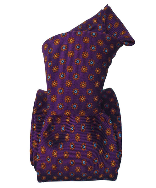 Violet and Yellow Printed Italian Necktie for Children - 100% Silk -Knot