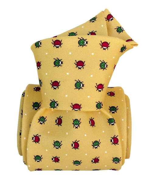italian necktie yellow silk for men printed lady bugs knot