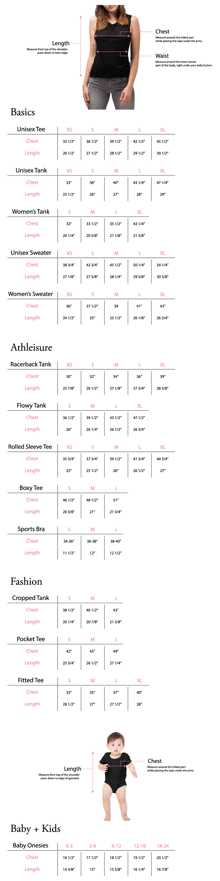 New Signature Collection Size Guide