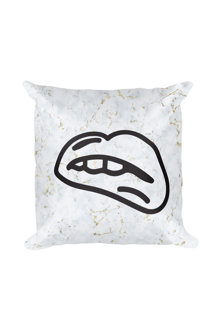 Biting Lip Throw Pillow