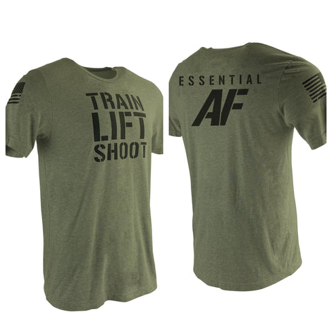 Train Lift Shoot - Essential AF (OD Green) Men's T-Shirt