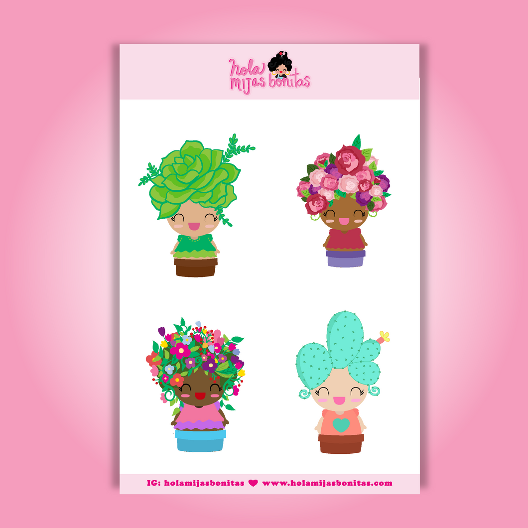 Big Flower Girls Sticker Sheet