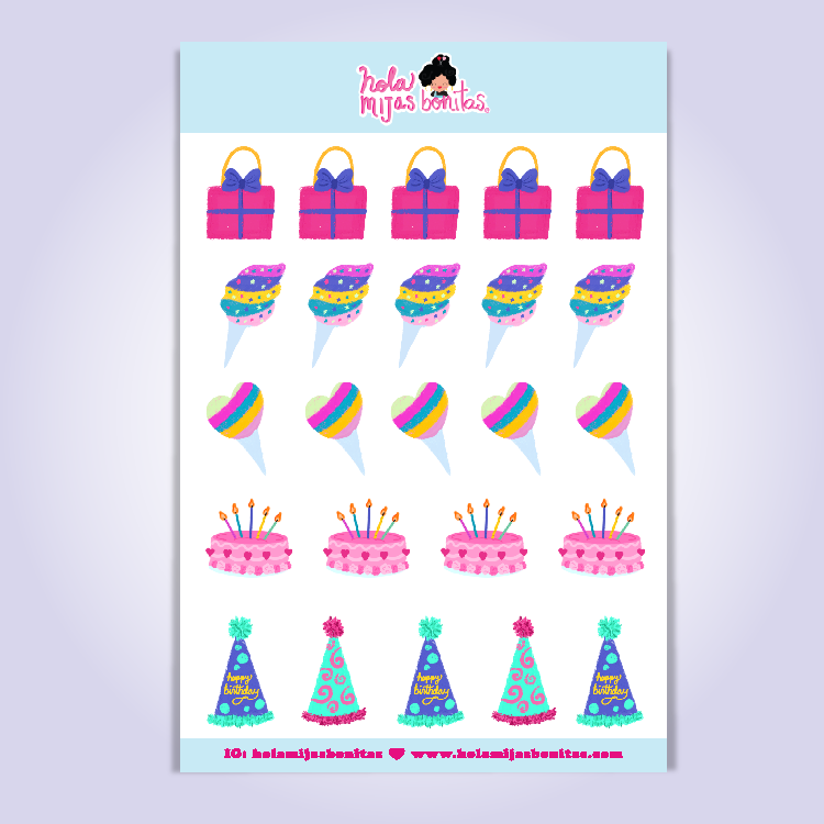 HMB BIRTHDAY DECORATIONS STICKER SHEET SMALL SIZE