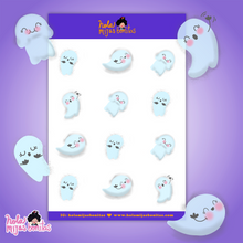 Load image into Gallery viewer, Cute Ghost Clear Sticker Sheet