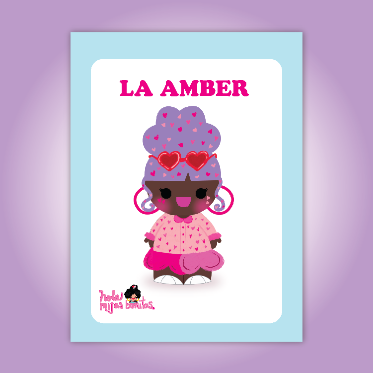 Valentines day Custom Name Loteria Inspired Print Amber