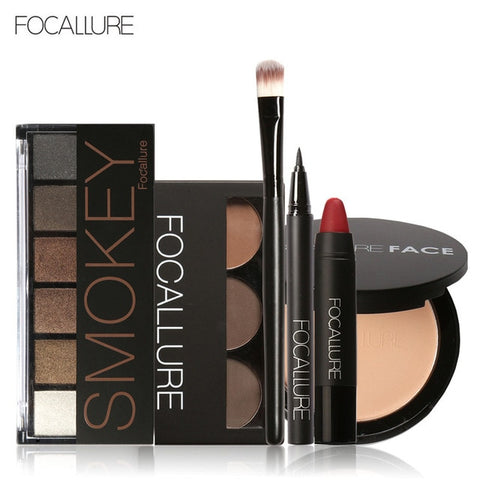 Focallure Makeup Tool Kit for Daily use with Sexy Matte Lipstick Beauty Eyeshadow Eyebrow Eyeliner Pen with Brush in makeup set