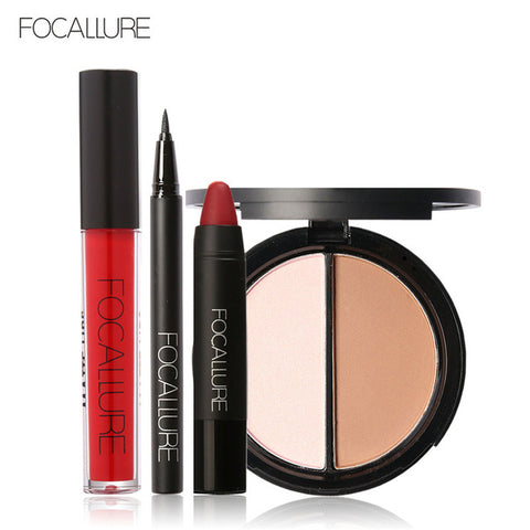 Focallure Makeup kit Pofessional Eyeliner pen Matte Lipstick Face Powder and Sexy Lip Gloss in Makeup Set