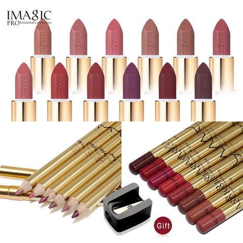 IMAGIC Brand Makeup Set Lipstick & Lipliner Pencil  Cosmetics Combination Waterproof Lip Makeup