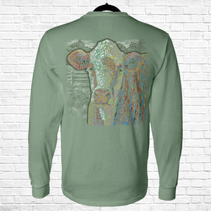 Ribbon Cow Long Sleeve Tee