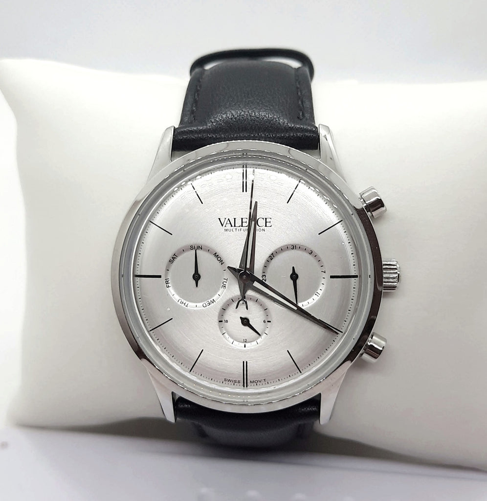 VALENCE Black Leather Strap Sapphire glass Watch