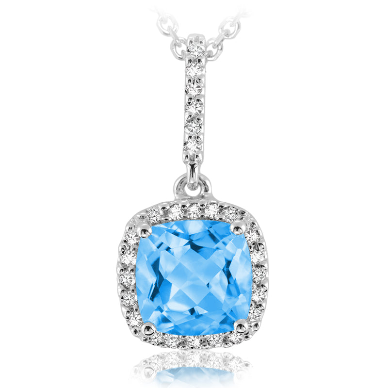 14K White Gold Topaz & Diamond Halo Pendant