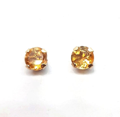 Citrine solitaire 10K Yellow gold Stud Earrings