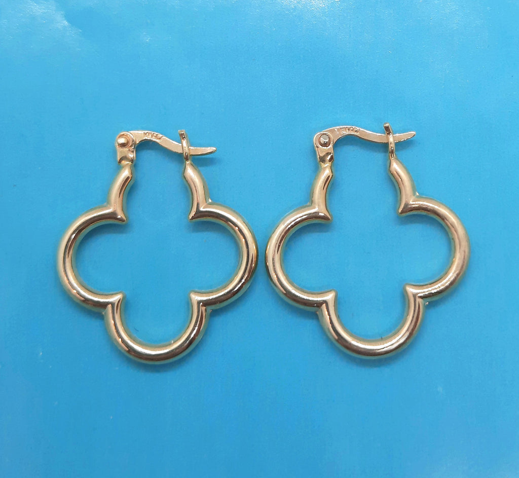 14K Yellow gold Clover Earrings