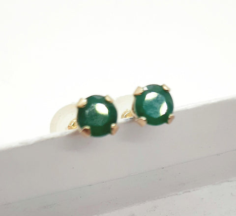 Emerald solitaire 10K Yellow gold Stud Earrings