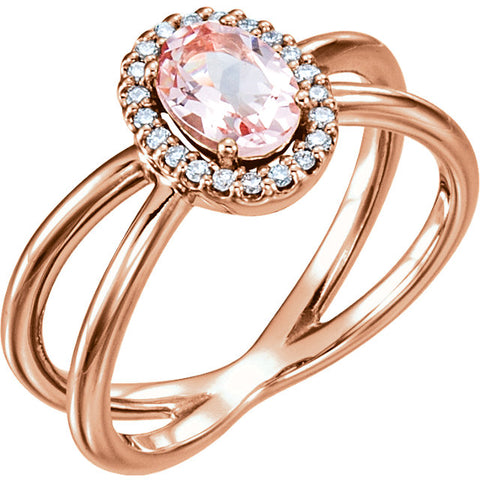14K Gold Morganite Diamond Ring