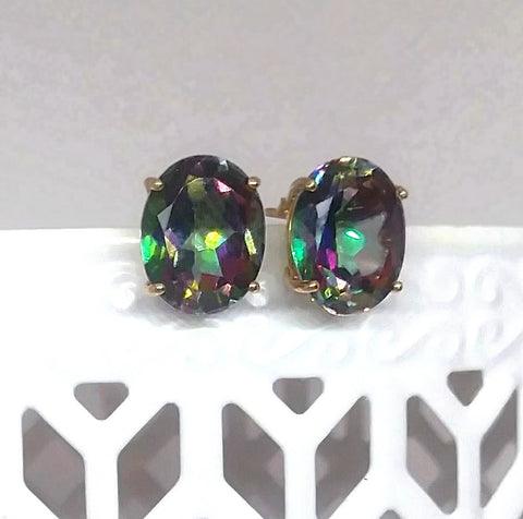 5.00 ctw Mystic Topaz Oval 14KY Gold solitaire Earrings