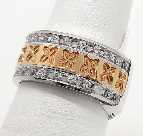 14K Two tone Gold Eternity Band