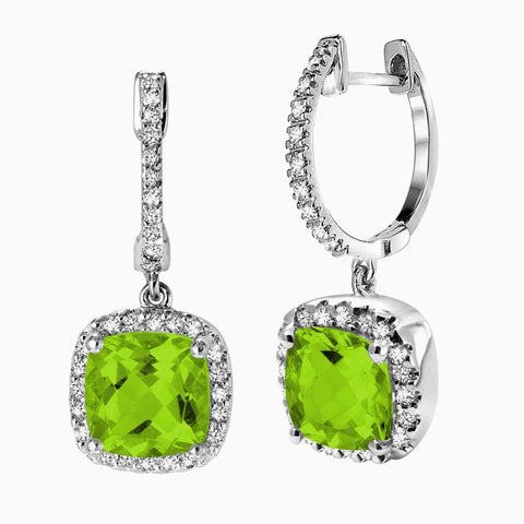 14K White Gold PERIDOT & Diamond Halo Earrings