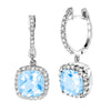 14K White Gold TOPAZ & Diamond Earrings