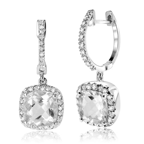 14K White Gold White Quartz & Diamond Halo Earrings