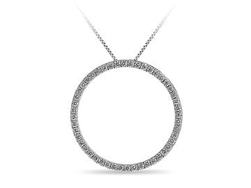 10K WG Diamond Circle Pendant