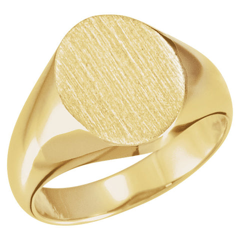 14K Yellow Gold 10x8mm Oval Signet Ring