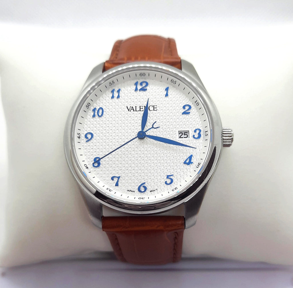 VALENCE Brown Leather Sapphire Glass White Watch