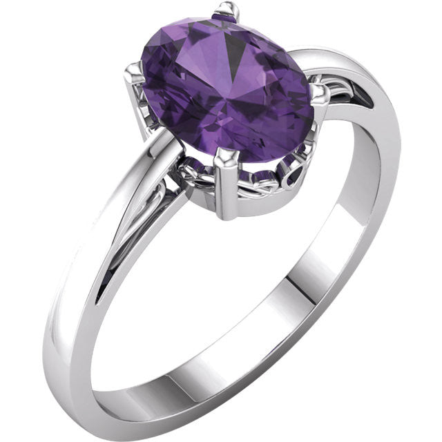 14K White Gold Oval Amethyst Scroll Ring