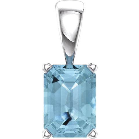 14K White Gold Aquamarine Scroll Pendant