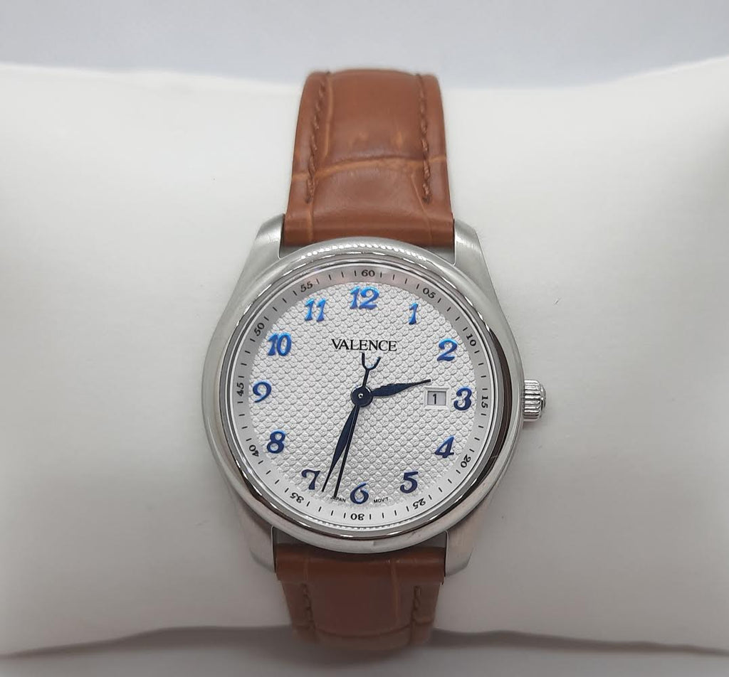 VALENCE Brown Leather White Watch
