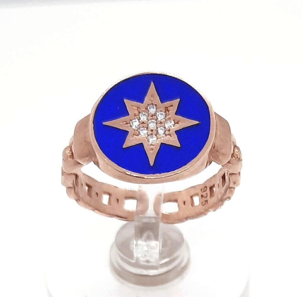 North Star Blue Enamel Rose Silver Ring