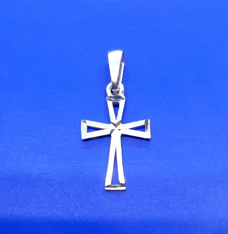 10K white gold cut out small cross pendant