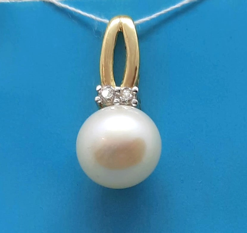 10KY gold white pearl pendant