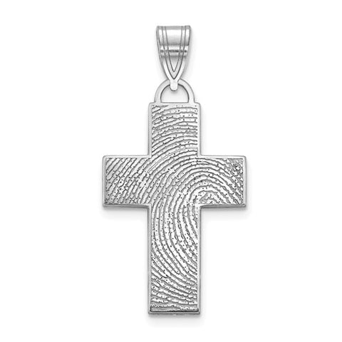 Sterling Silver Fingerprint Cross Pendant