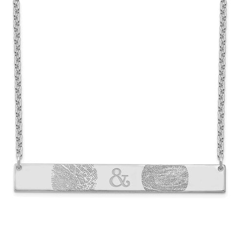 Sterling Silver Fingerprint and Fingerprint Bar Necklace