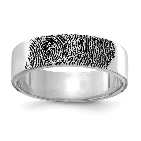 Sterling Silver Fingerprint Band 5.0 mm Ring