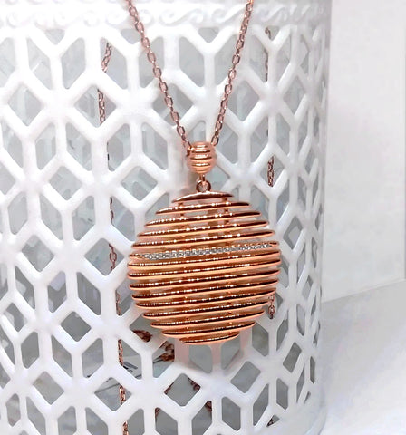 Modern Sterling Silver rose gold plated Necklace 18""