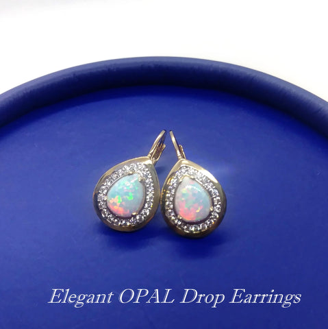 10K Yellow gold Opal drop Earrings