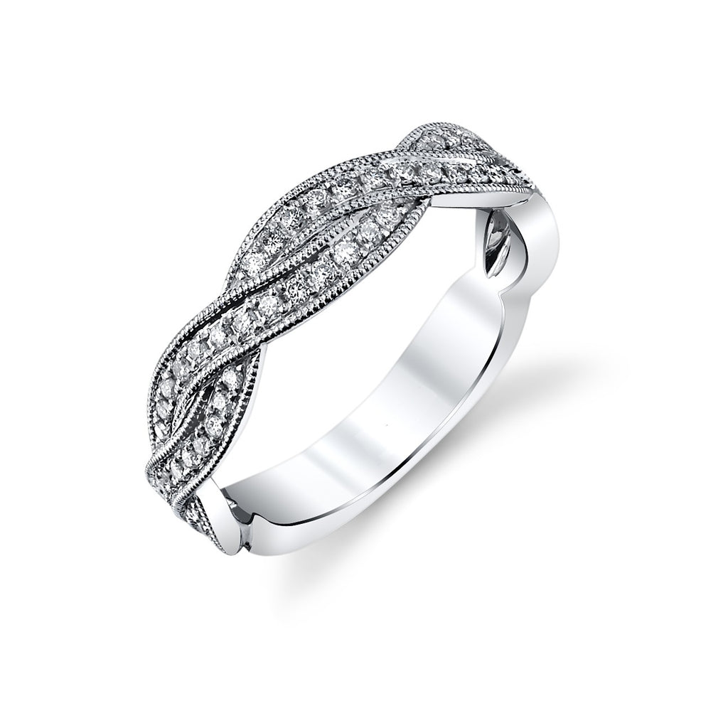10K White Gold Wave BAND 62 Diamonds