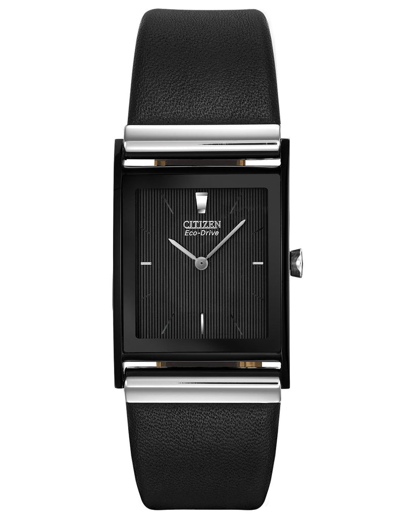 Citizen Eco-Drive Axiom Black Leather Square Watch