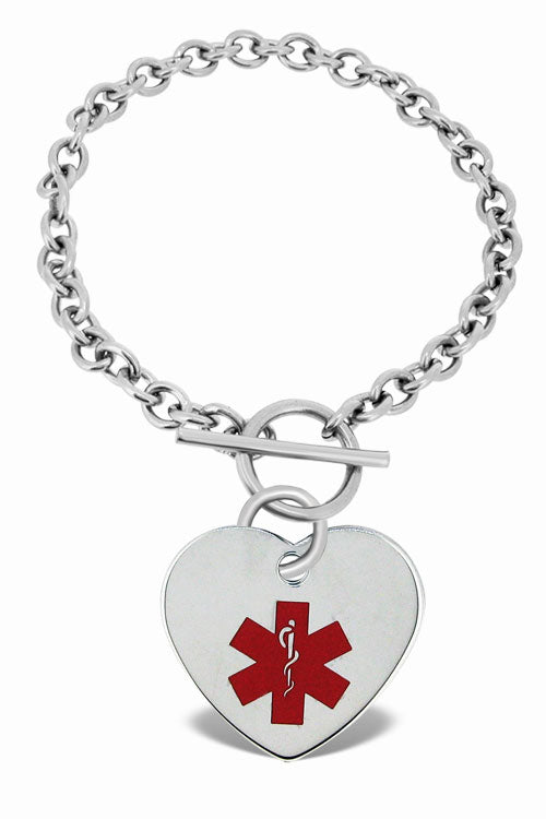 MEDICAL Personalized Heart Toggle Bracelet