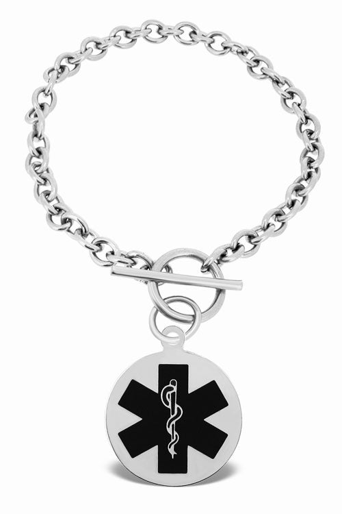 MEDICAL Personalized  Round Toggle Bracelet