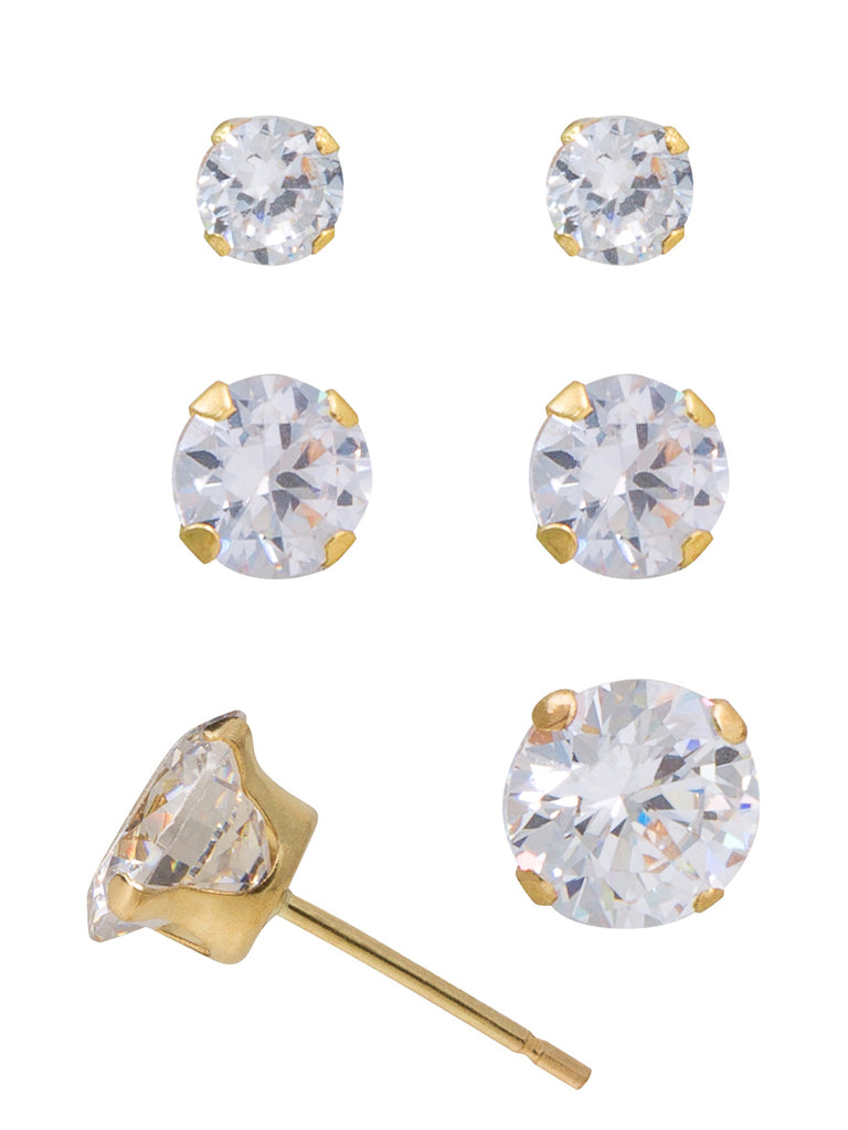 10K Yellow Gold Solitaire CZ Stud Earrings