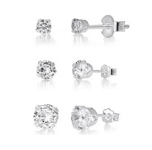 10K White Gold Solitaire CZ Stud Earrings
